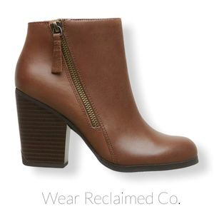 KENNETH COLE REACTION Cocoa Brown Leather Bootie
